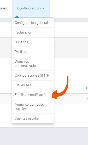 Modificar emails de notificación