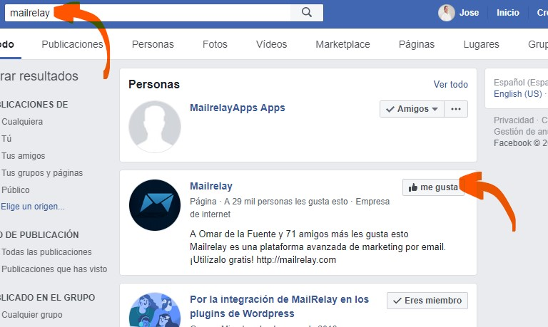 Seguir a Mailrelay en Facebook