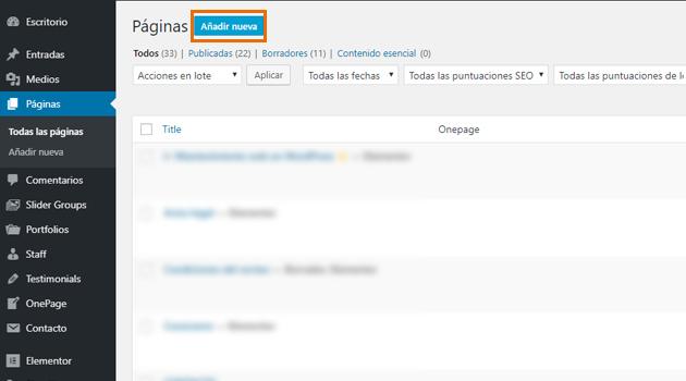 formulario de suscripción a una landing page de WordPress