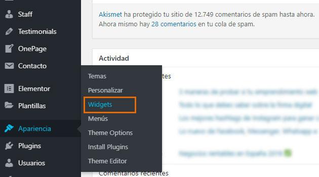 """WordPress, dirigirte a """"Apariencia"""" y hacer clic sobre """"Widgets"""""""
