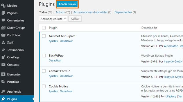 """plugins y hacer clic en """"añadir nuevo"""""""
