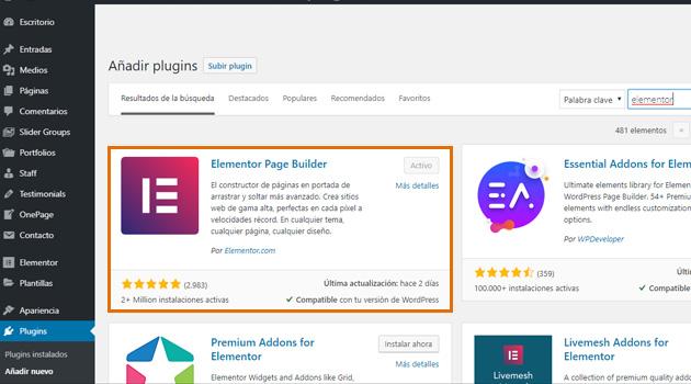 """Busca en el repositorio de WordPress """"Elementor Page Builder"""" y haz clic en Instalar."""