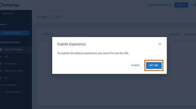 Para publicar de manera definitiva deberás configurar la URL de tu página