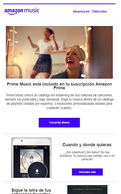 Ejemplo de newsletter 5: Amazon music