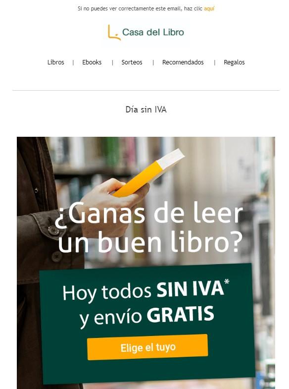 Ejemplo de newsletter 3: Casa del Libro