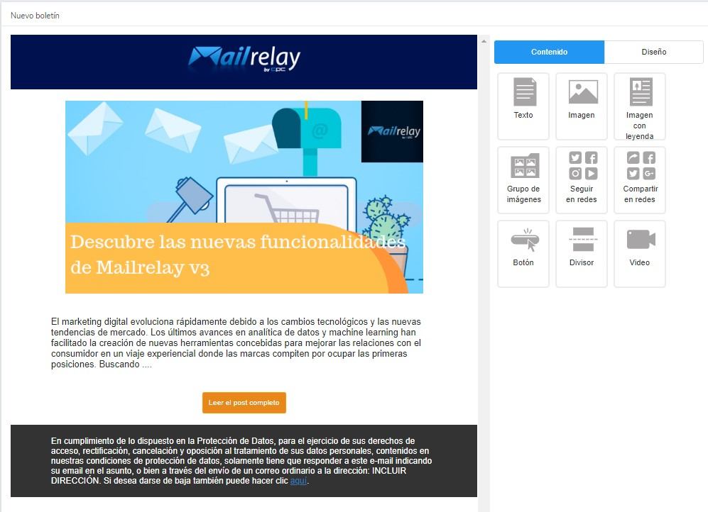 diseñar newsletter gratis en Mailrelay