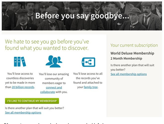 Ancestry account cancellation