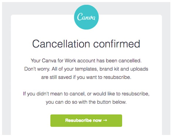 canva cancellation confirmation