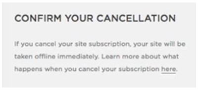 Squarespace confirm cancellation