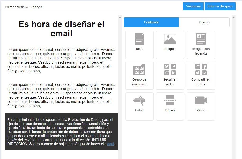 Editor de newsletters drag & drop