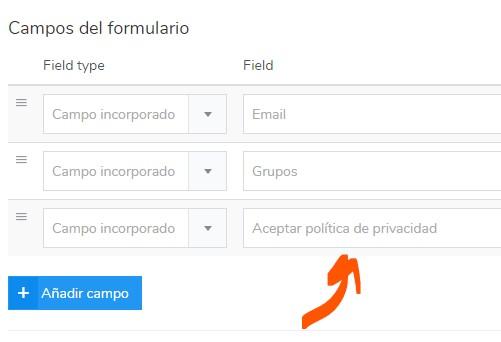 formulario de aceptación de la política de privacidad