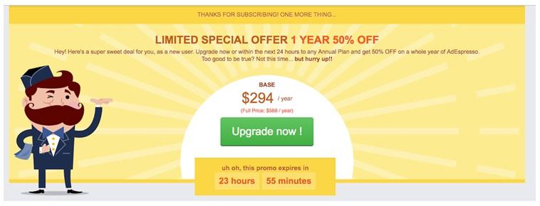 Ofrece a tus usuarios cambiar inmediatamente a un plan anual