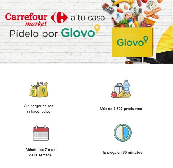 Ejemplo de email comercial de Glovo.