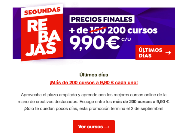 Ejemplo de email comercial de Domestika