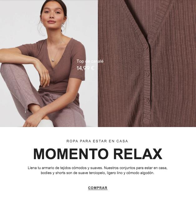 Ejemplo de email comercial de H&M