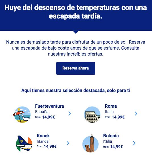 Ejemplo de email comercial de Ryanair