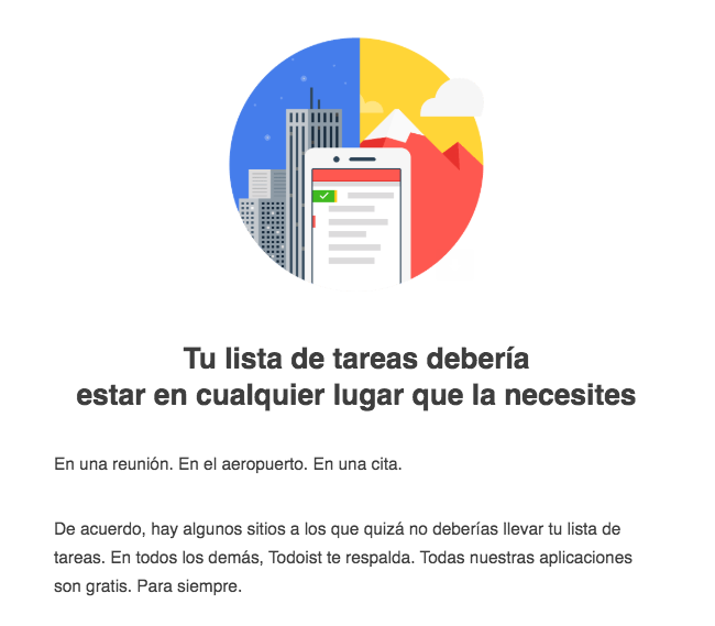 Ejemplo de email comercial de Todoist