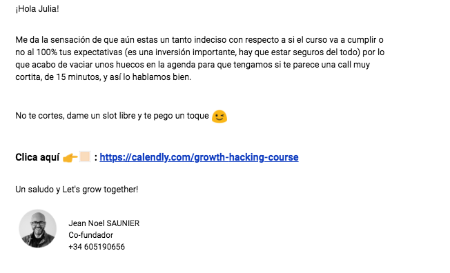 Ejemplo de secuencia de follow up - Growth Hacking Course