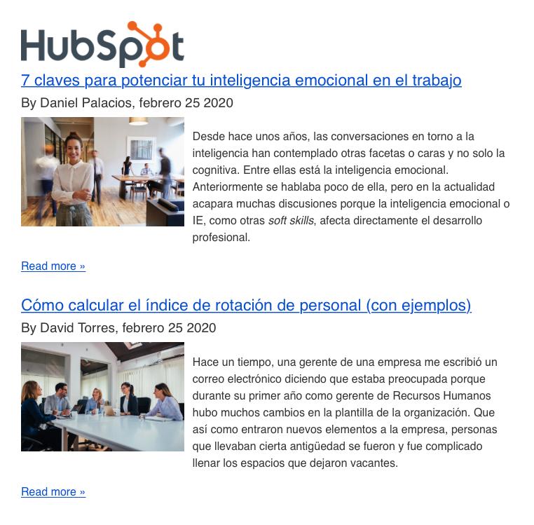 Ejemplo de newsletter diaria con contenido de blog - Hubspot
