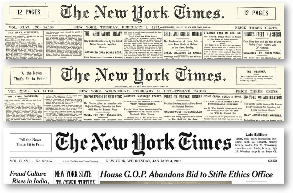 """All the news that's fit to print"" del New York Times"