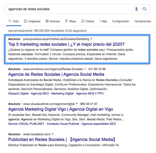 Ejemplo de Google Ads (esta vez, para una consulta más específica)