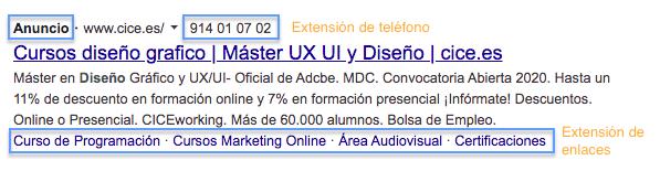Ejemplo de anuncio de Google Ads con extensiones