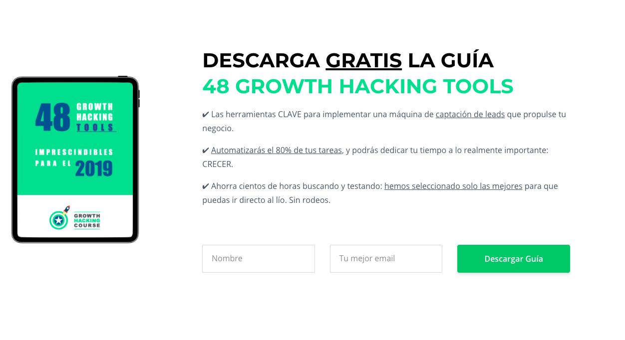 Ejemplo de lead magnet con formulario de suscripción de Growth Hacking Course