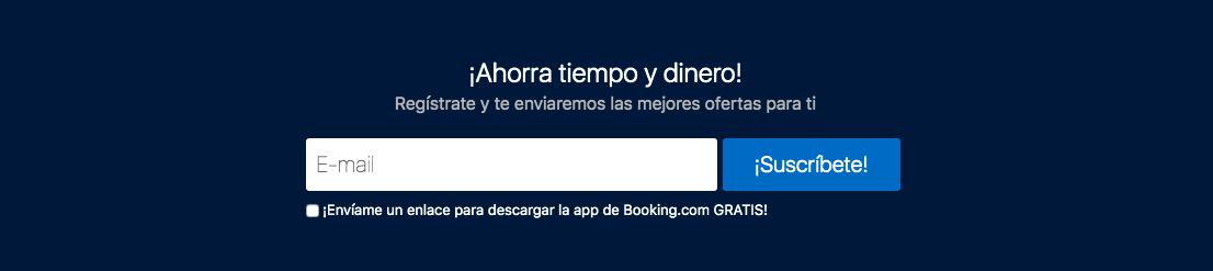 Ejemplo de formulario de suscripción básico de Booking