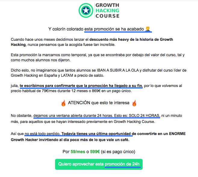 Ejemplo de email comercial con efecto «última llamada»