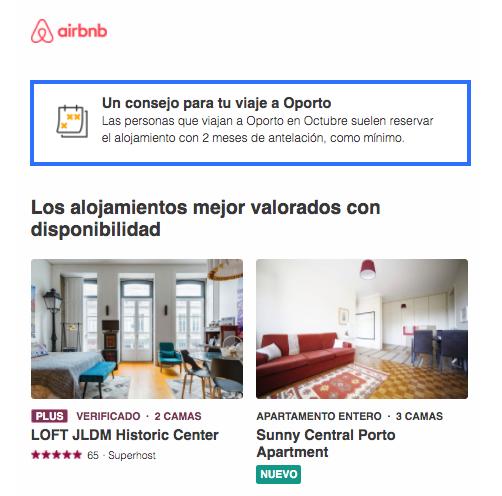 Ejemplo de email comercial de Airbnb