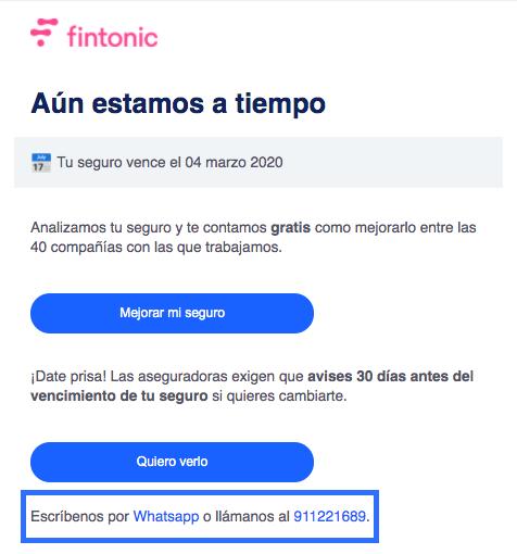 Ejemplo de email comercial de Fintonic