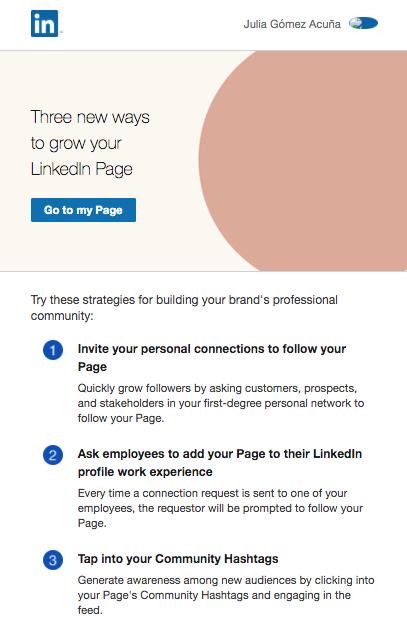 Ejemplo de mailing de LinkedIn