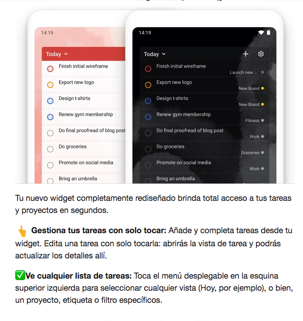 Ejemplo de mailing de Todoist