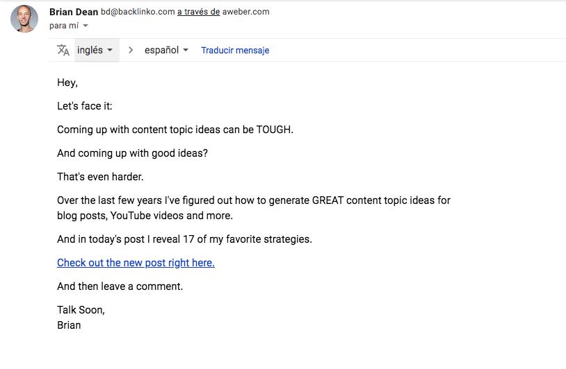 Texto de email de Backlinko