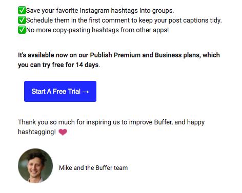 Texto de email de Buffer