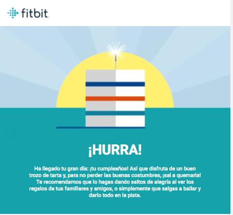 Texto de email de Fitbit