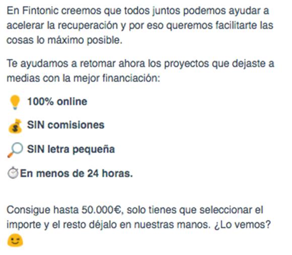 Texto de email de Fintonic