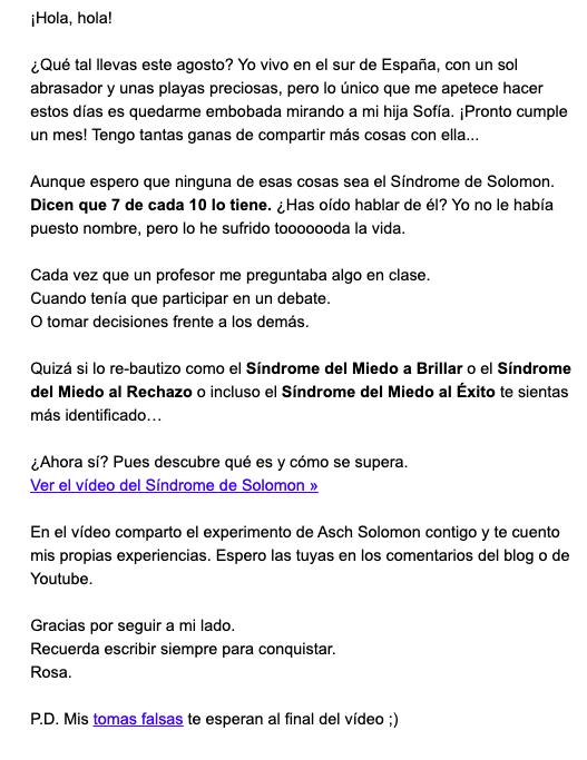 Ejemplo de email de contenido de Rosa Morel