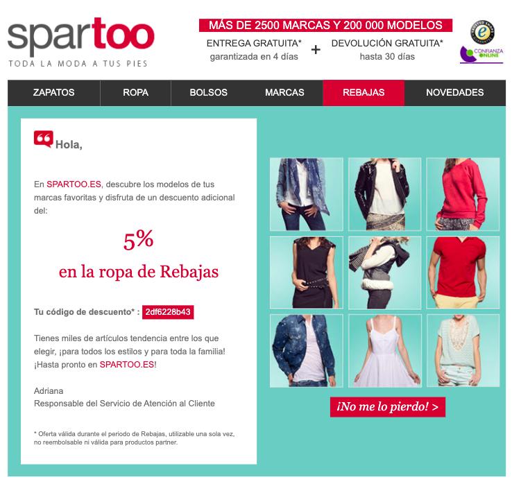 Ejemplo de email promocional de Spartoo