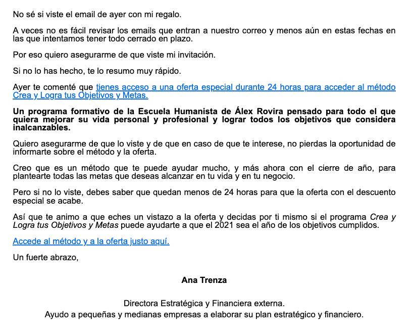 Ejemplo de email de follow-up de Ana Trenza