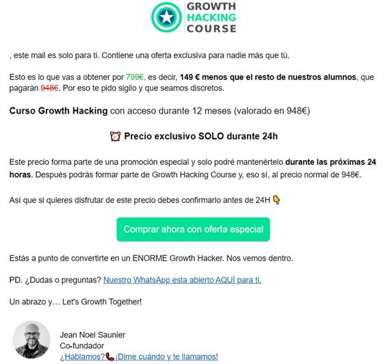 Ejemplo de email de ventas de GHC
