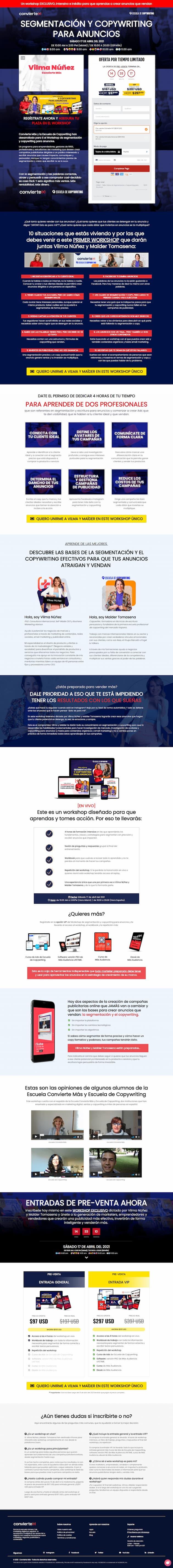 Ejemplo de landing page de Escuela de Copywriting