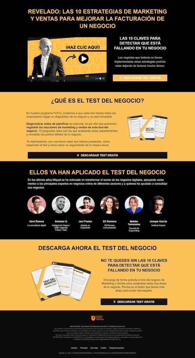 Ejemplo de landing page de Escuela de Nuevos Negocios