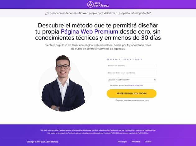 Ejemplo de landing page de Álex Fernández