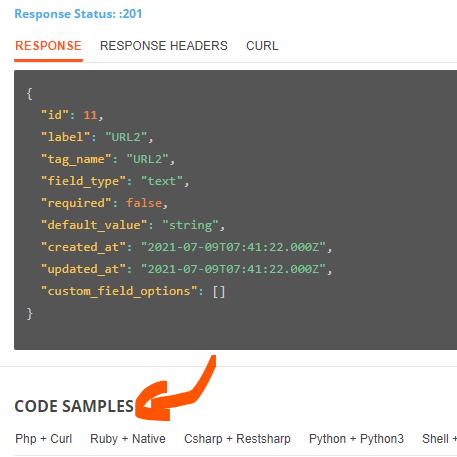 Crear campos personalizados mediante API