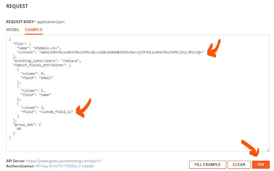 Importar contactos mediante el API