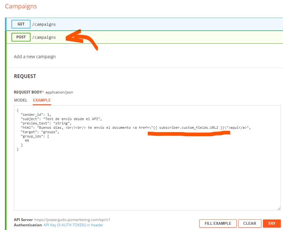 Crear el mailing con el campo personalizado