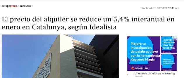 Ejemplo de PR digital de Idealista - Aparición en Europa Press