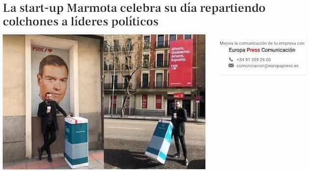Ejemplo de PR digital de Marmota - Aparición en Europa Press