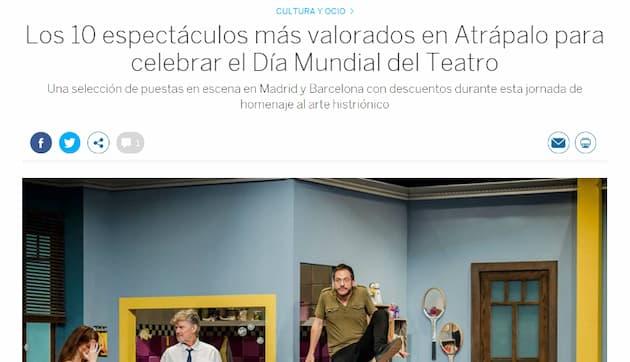 Ejemplo de PR digital de Atrápalo - Aparición en El País